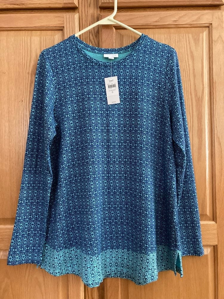 J JILL TUNIC TOP S NAVY AQUA NOVELTY NWT