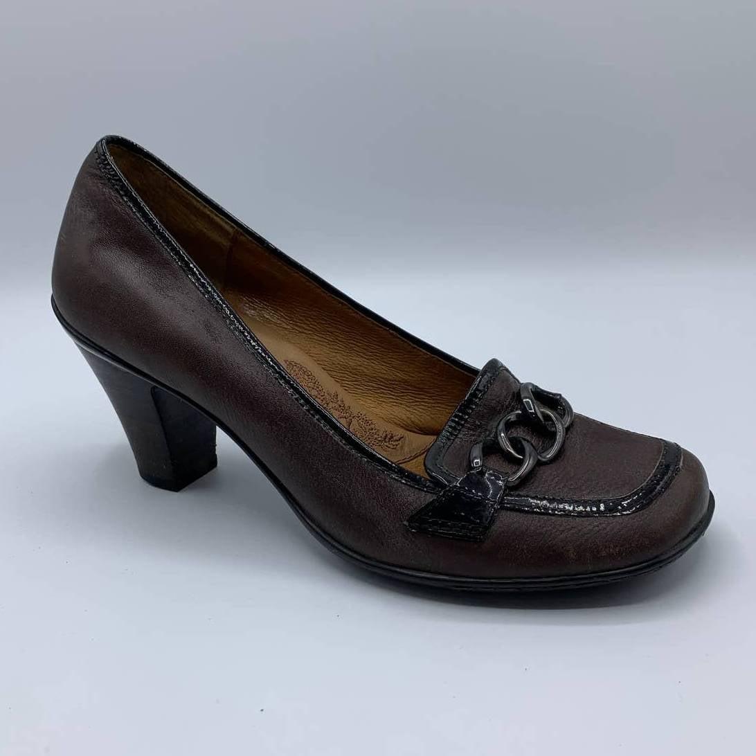 Sofft Dark Brown Leather Chain Heels 7M