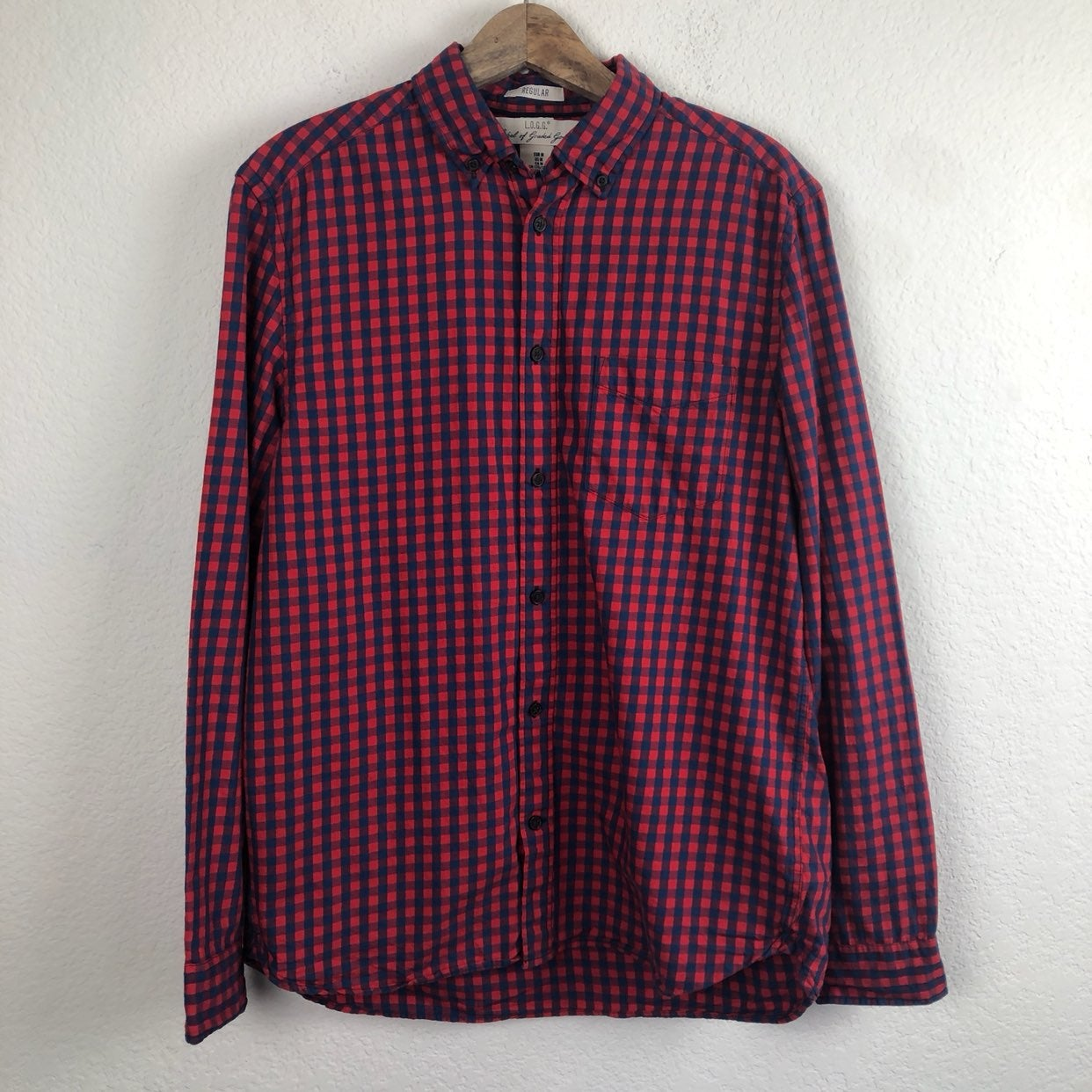 H&M L.O.G.G Blue Red Checkered Shirt M