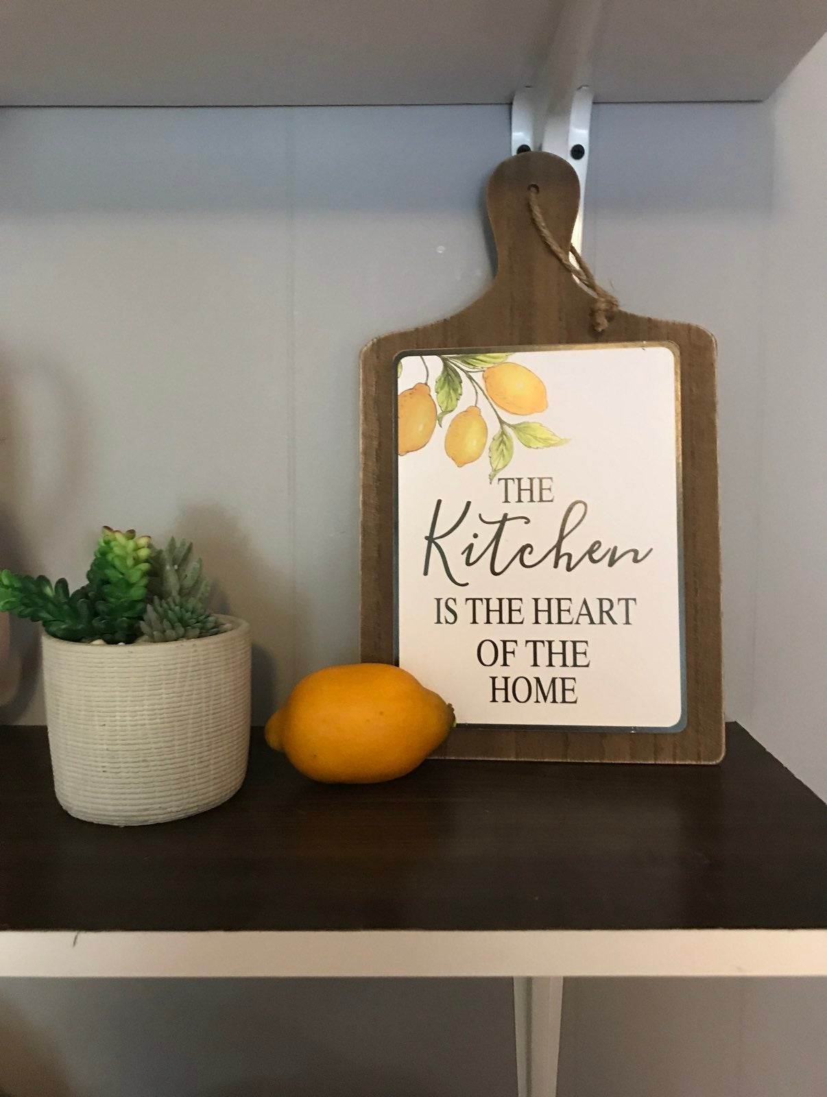 Cutting board decor with vintage lemon