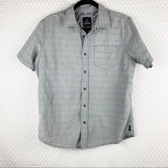 Prana Print Embroidered Button Up Shirt
