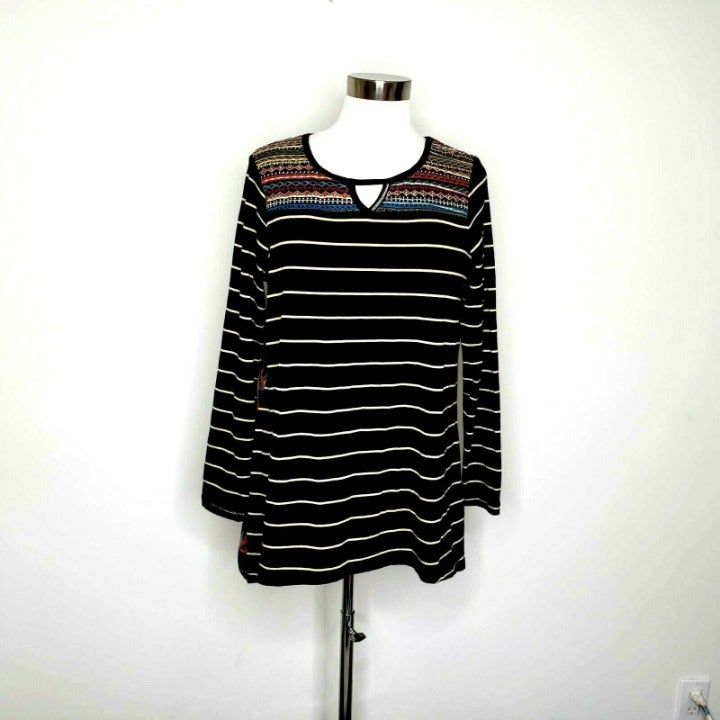 Westbound Black Mixed Print Top