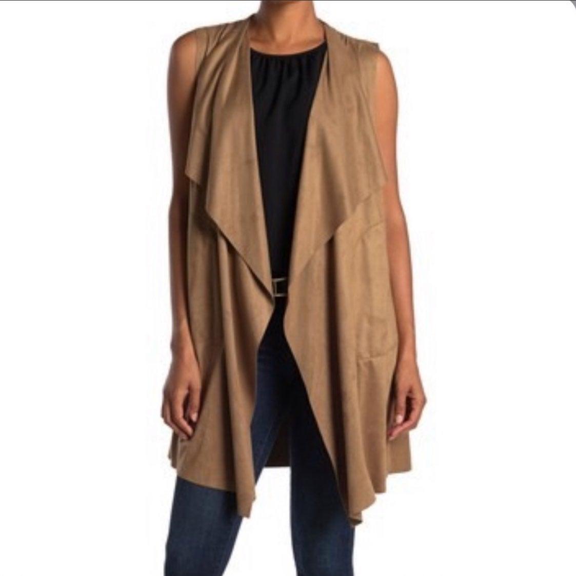 Max Studio Suede Vicuna No Sleeves Coat