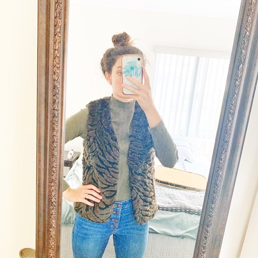 Dana Buchman Faux Fur Animal Print Vest