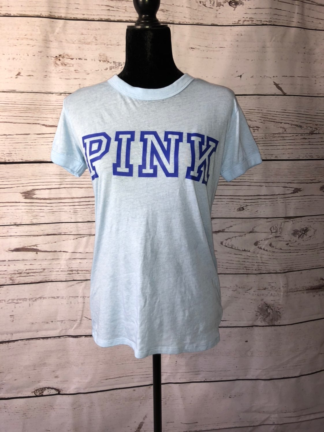 Victoria/'s Secret Pink All The Feels Black Rainbow Perfect Ringer Crew Tee XS S