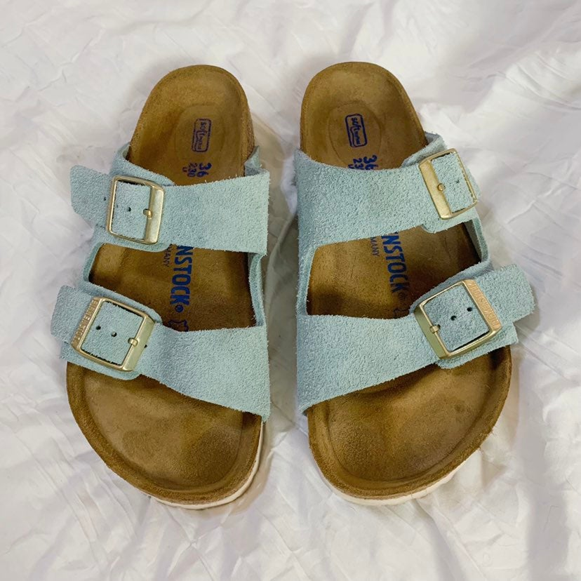 Birkenstock 36 Arizona Light Blue Suede