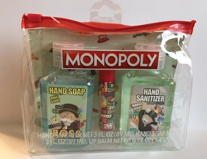 Hasboro Kids 3 pc MONOPOLY & Tonka Hand Hygiene, Hand Soap, Lip Balm Travel Kit