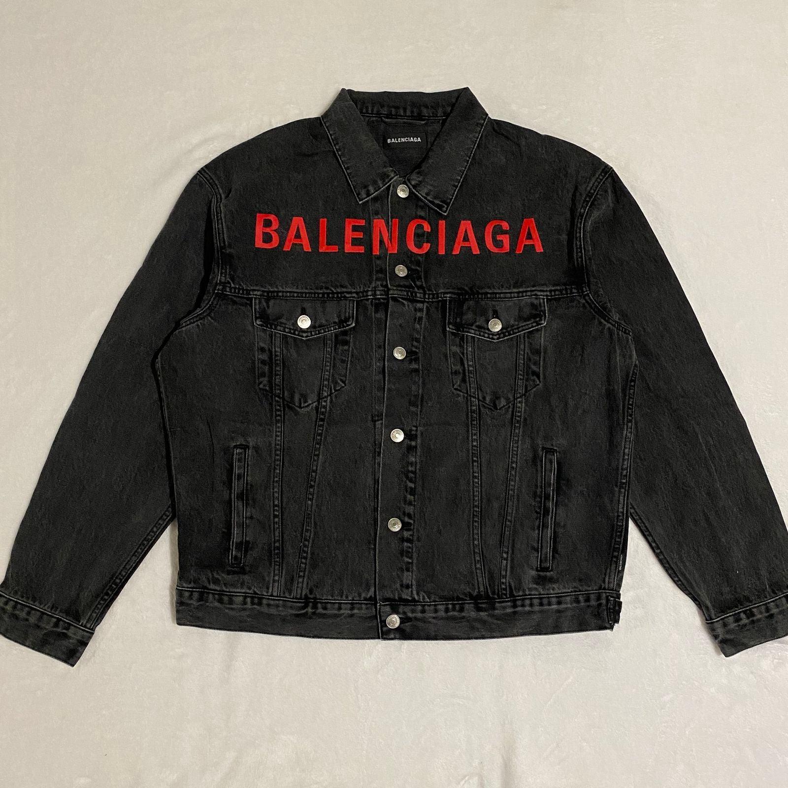 Balenciaga Black Denim Jacket Red Logo