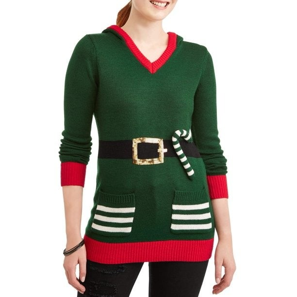 Ugly Christmas Sweater Hoodie Pockets M