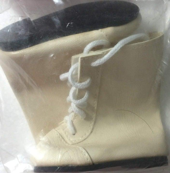 Monique Lace Up Doll Boots Light Cream