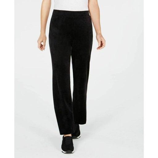 NWT Karen Scott Sport Black Velour Pants