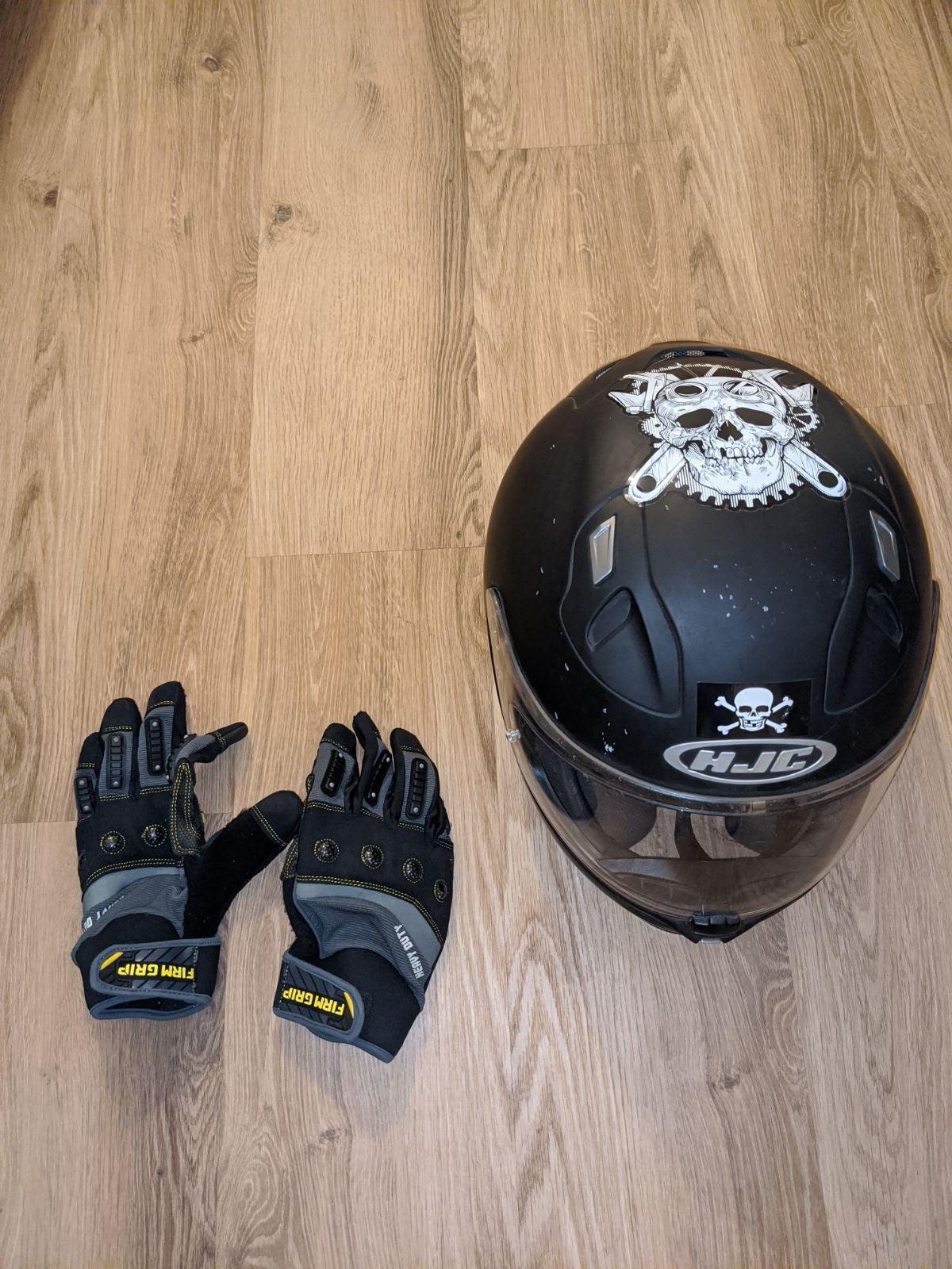 HJC Motorcycle Helmet & Riding Gloves