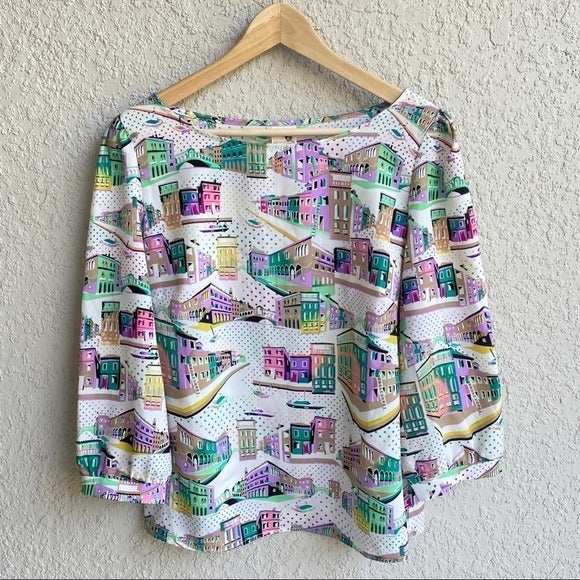 Pink owl colorful city scene blouse