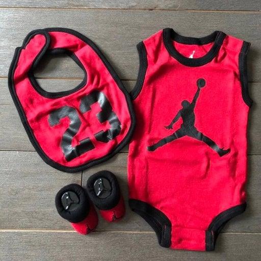 Jordan baby onesie bib and booties