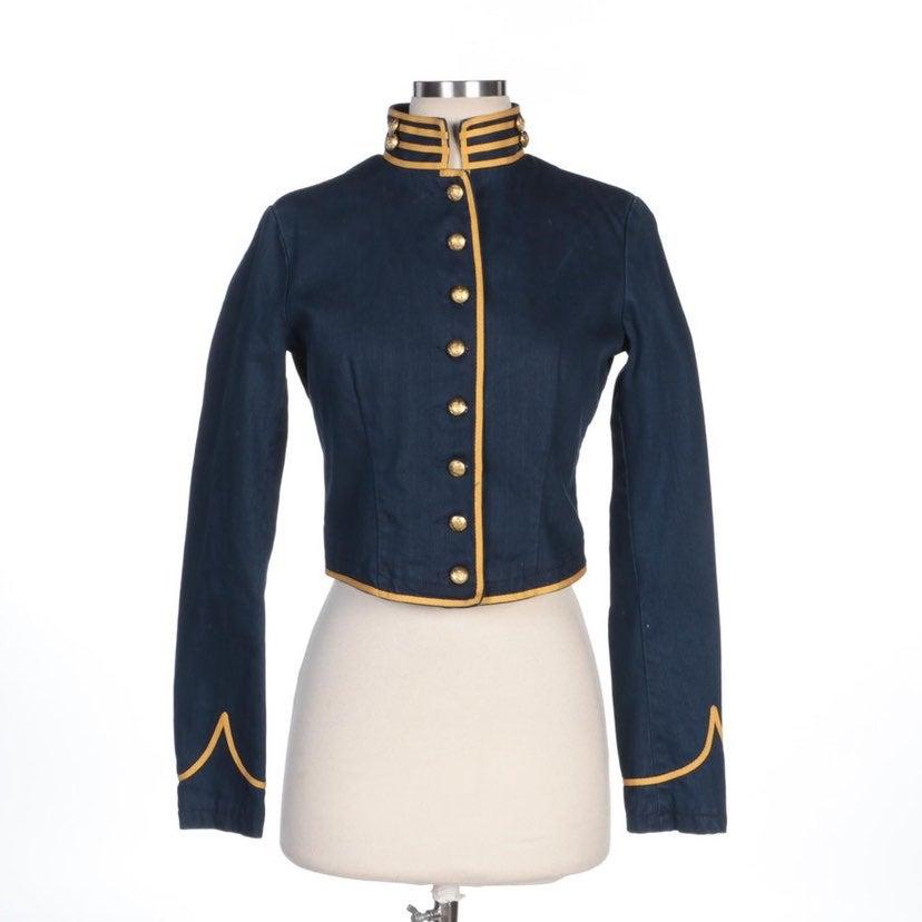 RALPH LAUREN Navy Spencer Military Coat