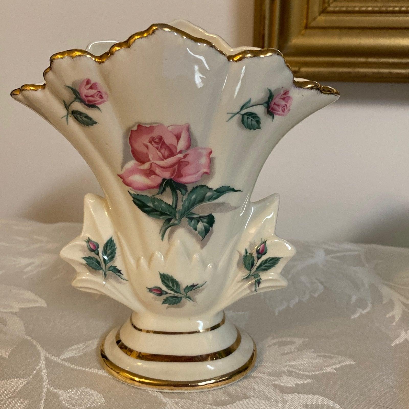 Vintage Gold Trim Rose Mantle Vase