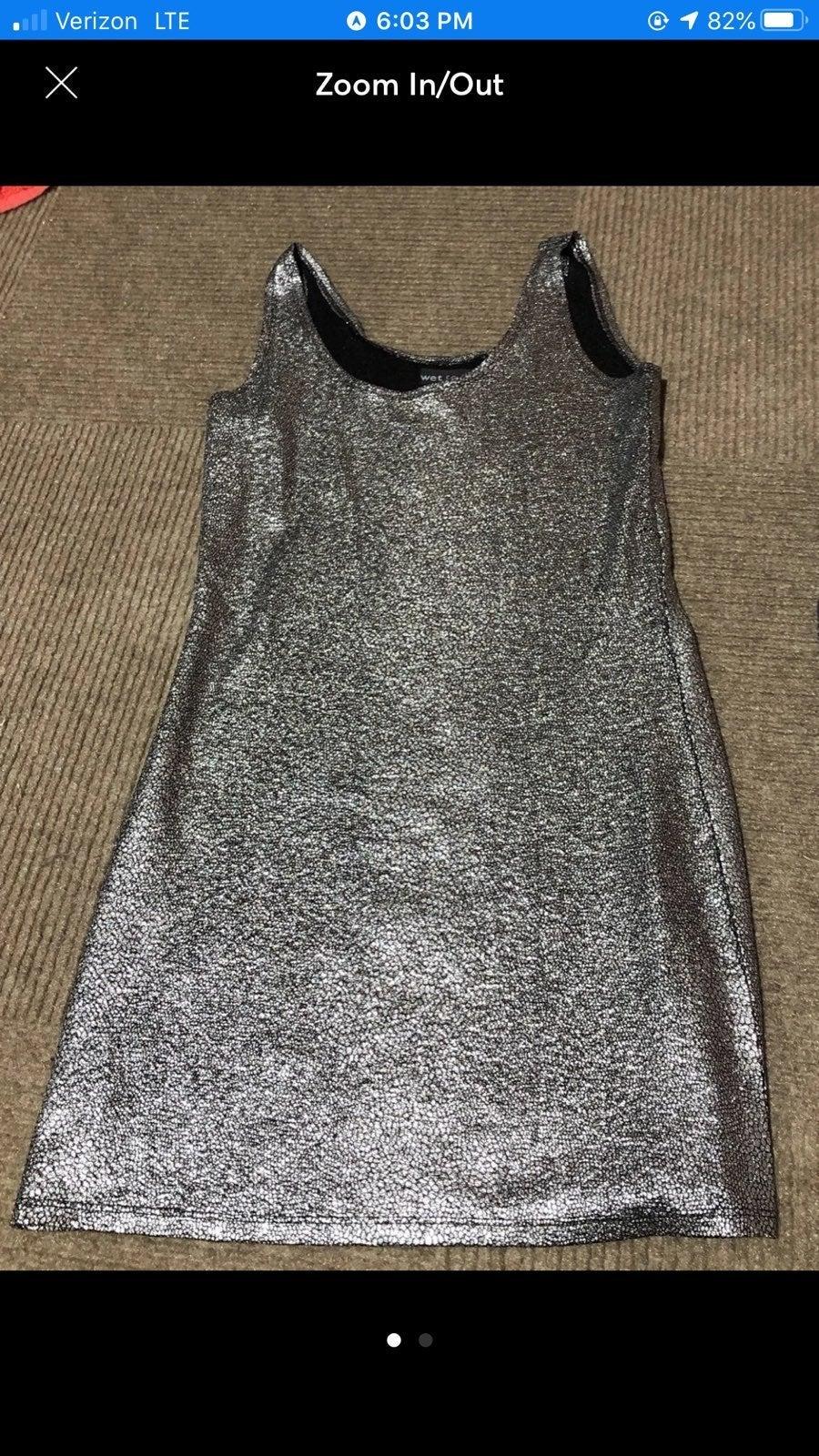 Sliver Wet Seal Sparkly Mini Tight Dress