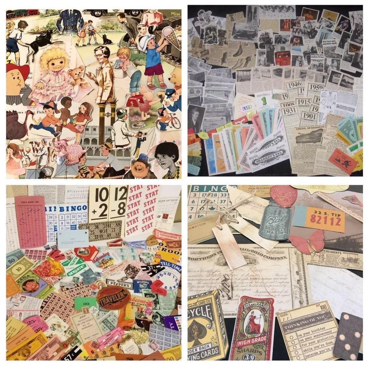 50 Pc EPHEMERA MEDIA ART SCRAPBOOKING