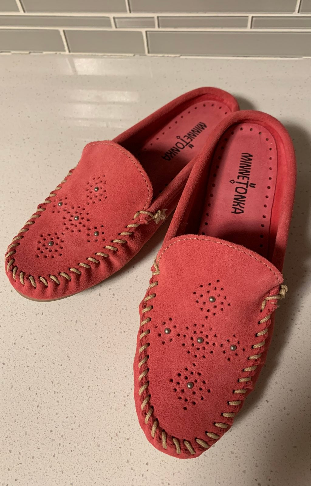 minnetonka moccasins pink suede