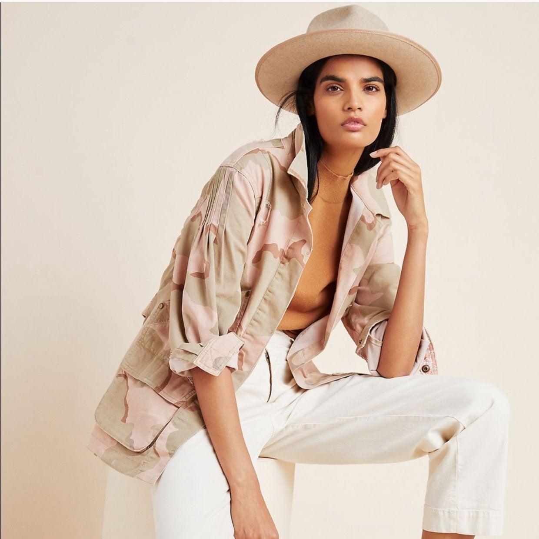 Anthropologie Pink Camo Utility Jacket