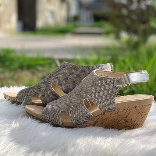 Silver Sandal Cork Wedge