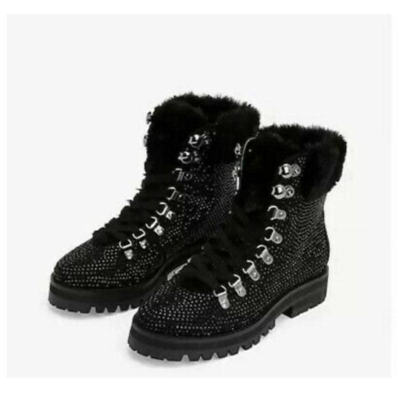 Express Rhinestone Faux Fur Combat Boots