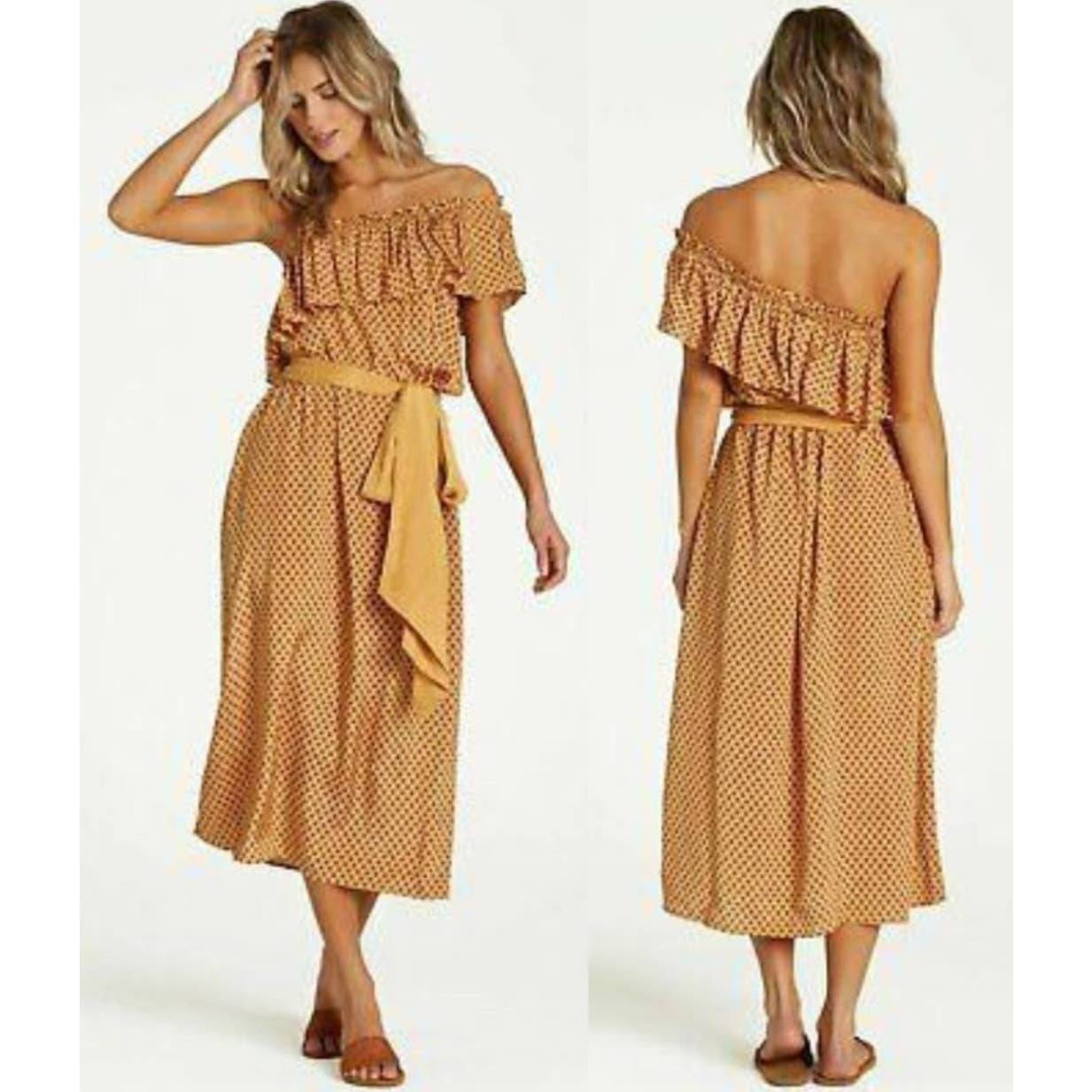 Billabong Sash Midi Boho Ruffle Dress