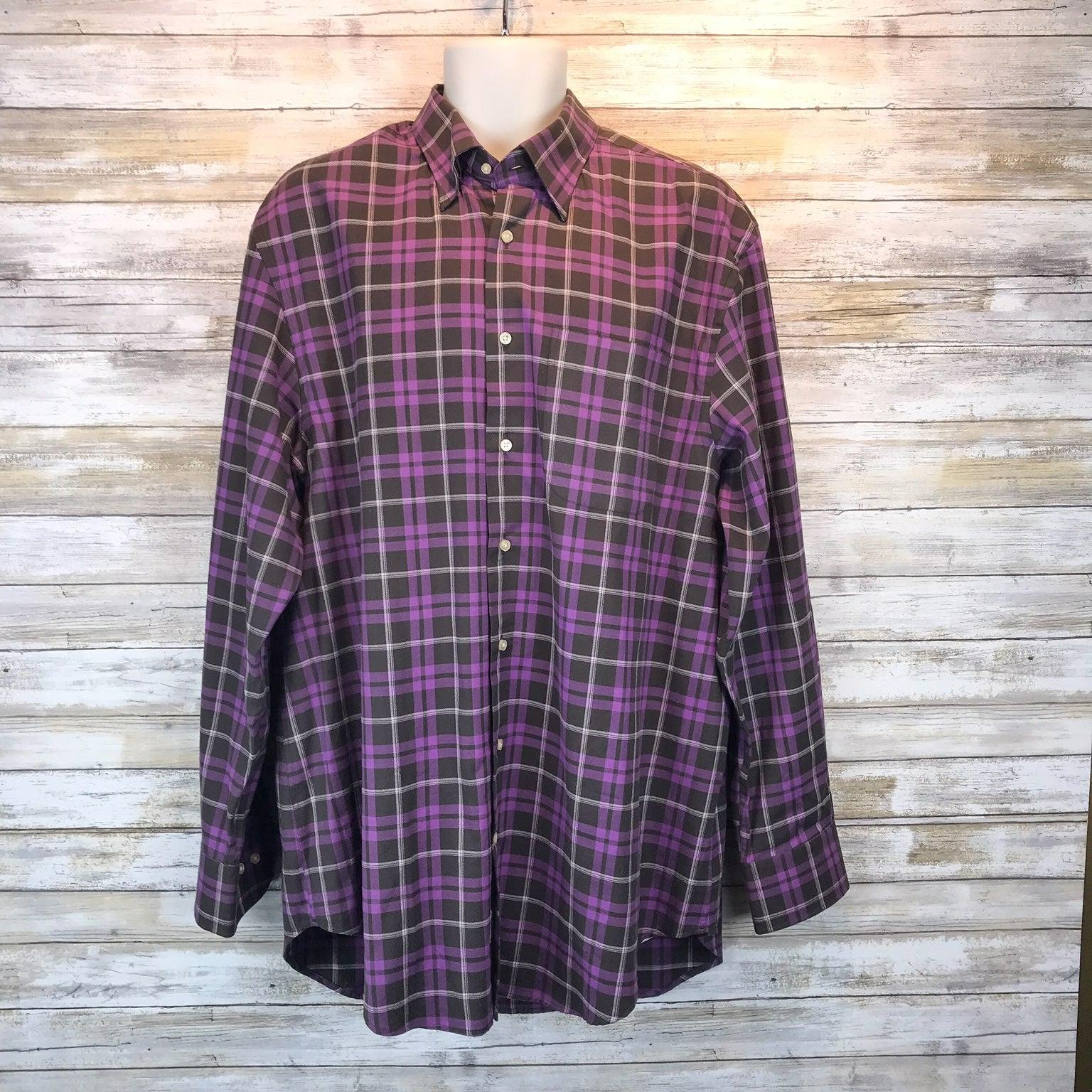 Peter Millar Purple Plaid Shirt Sz L