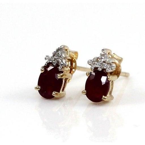 10K Gold Natural Ruby Diamond Earrings