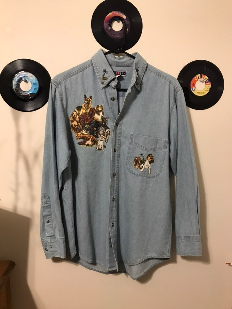 Dog Lover Vintage Denim Button Up