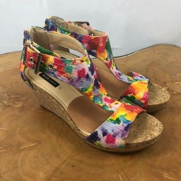 Floral platform wedge sandals Alex Marie