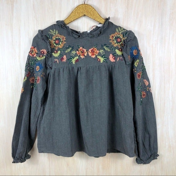 Zara Embroidered Floral Detail Shirt