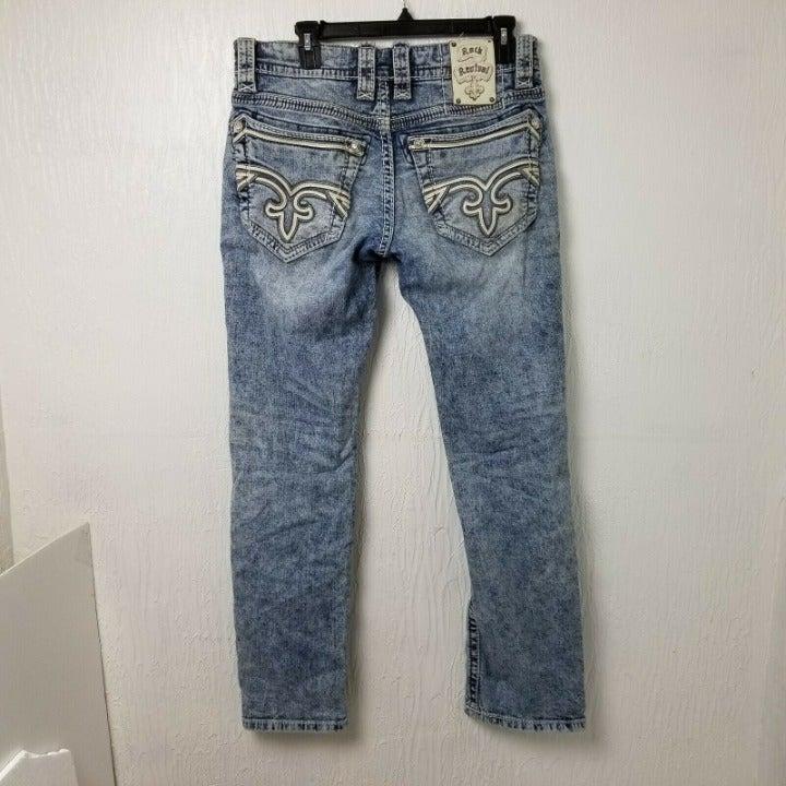 Rock Revival Mens Jeans 31 Measures 31x31 Straight Mid Rise Light Wash Blue