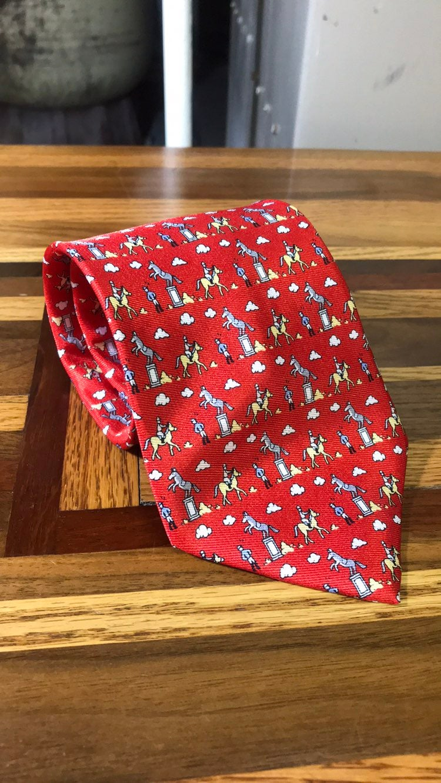 Hermes mens red horse necktie