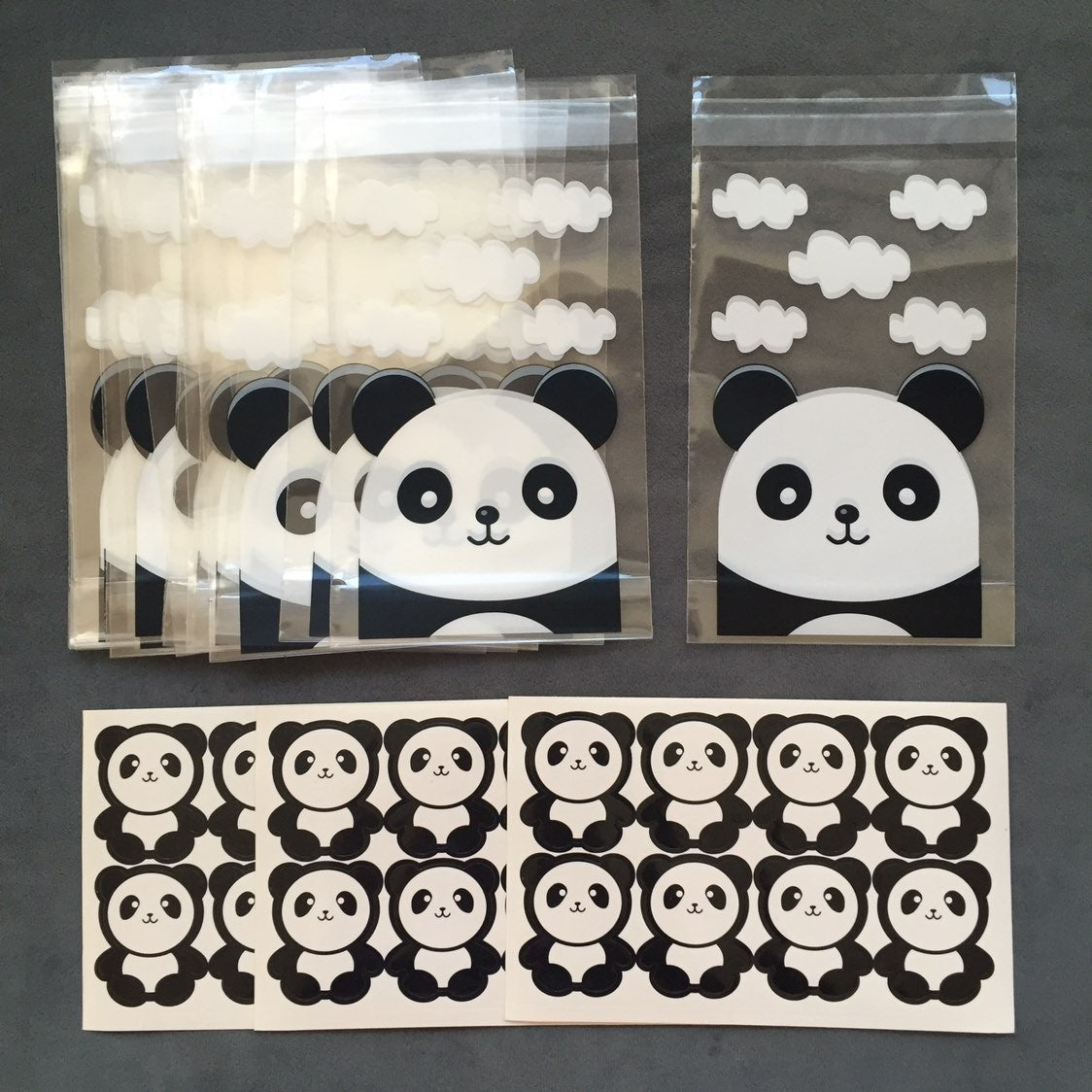 32 panda self seal cello bags stickers