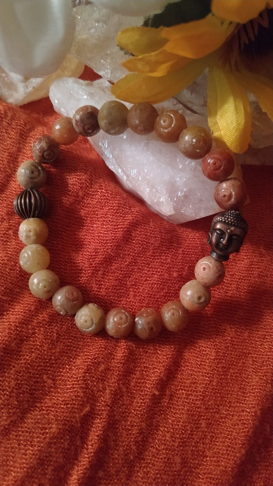Stone and budda stretch bracelet