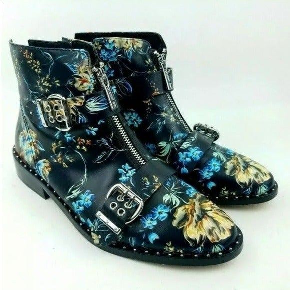 Gianni Bini Floral combat buckle boots 6