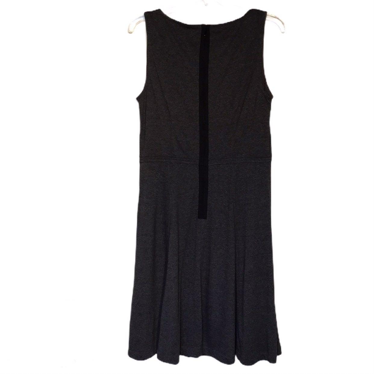 Loft Gray Knit Exposed Zipper Midi Dress