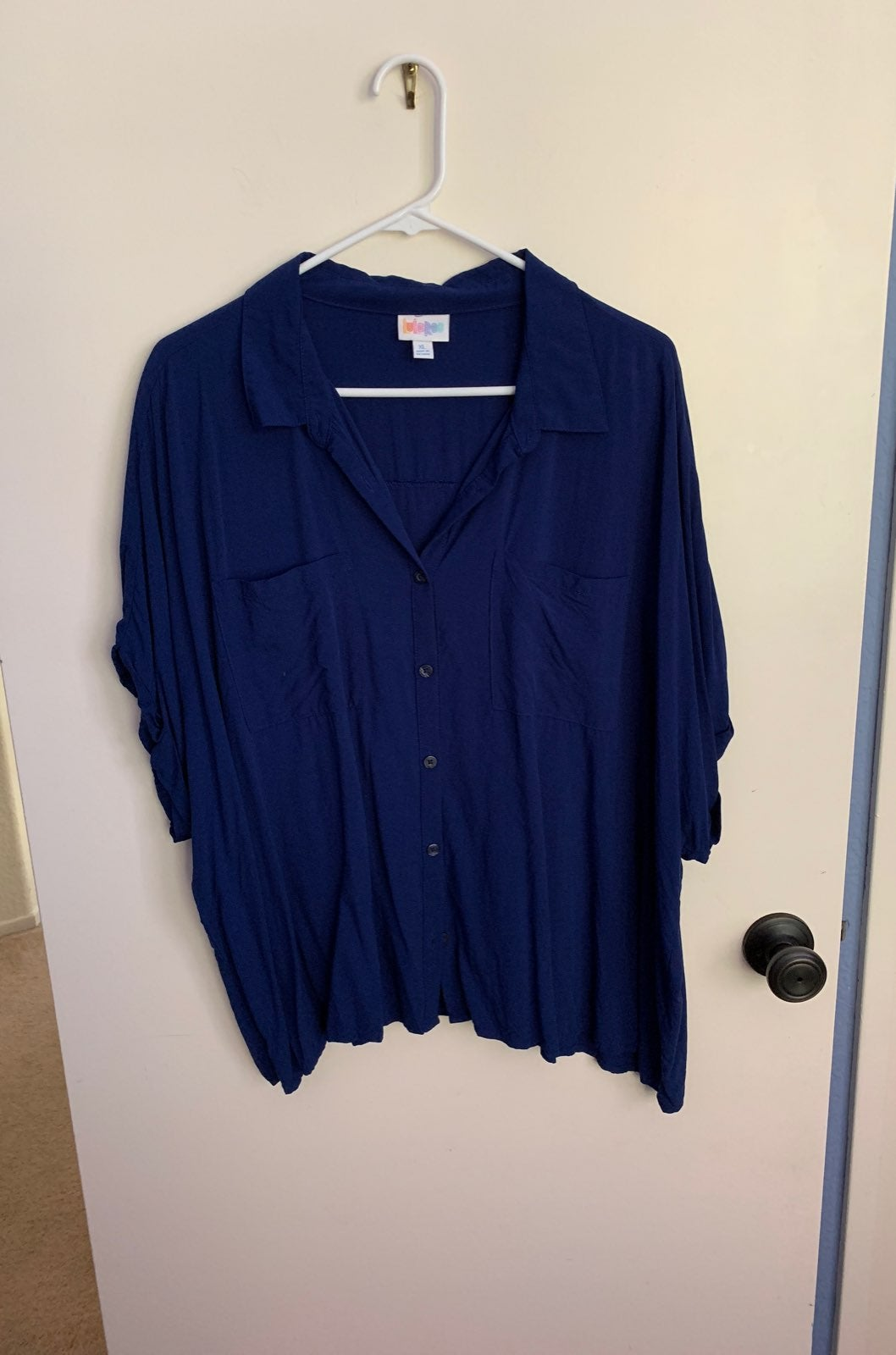 Lularoe Amy Navy Button Up Blouse