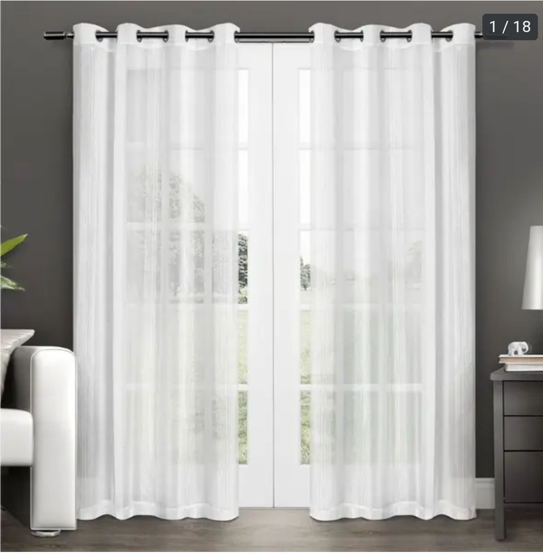 Set of 4 curtains white with grey with R