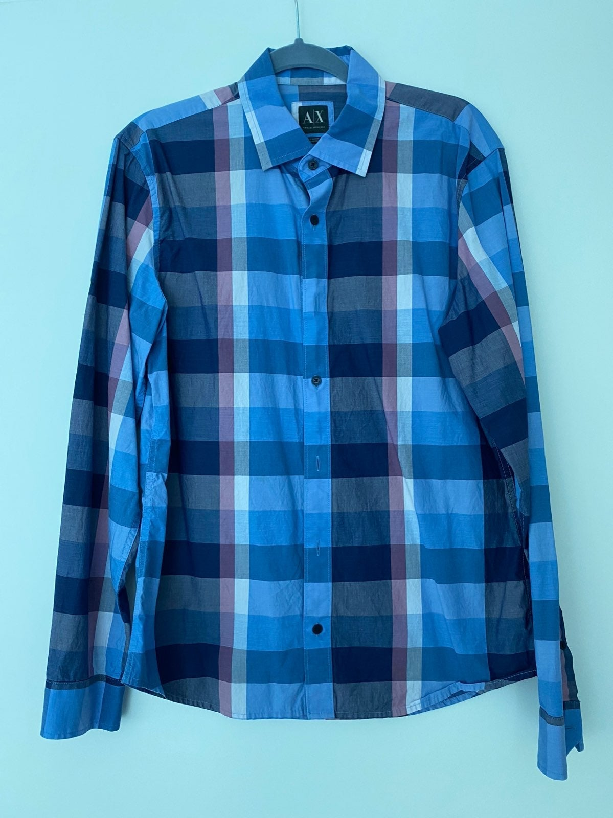 AX Mens Long Sleeve Plais Shirt Medium