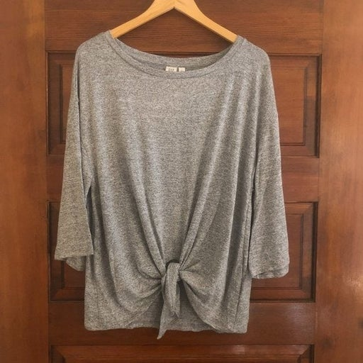 GAP Marled Gray Softspun Knit Top Tie Front NWT Large NEW