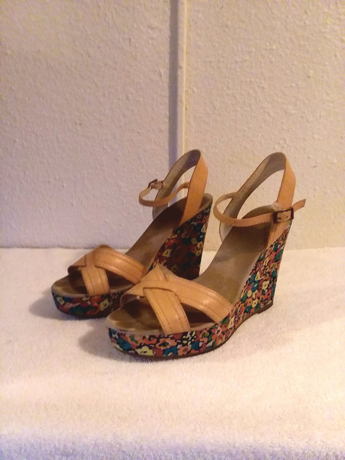 Marc Jacobs Floral Ankle Strap Wedges 10