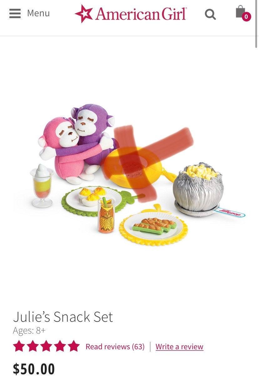 American Girl Julie Snack set