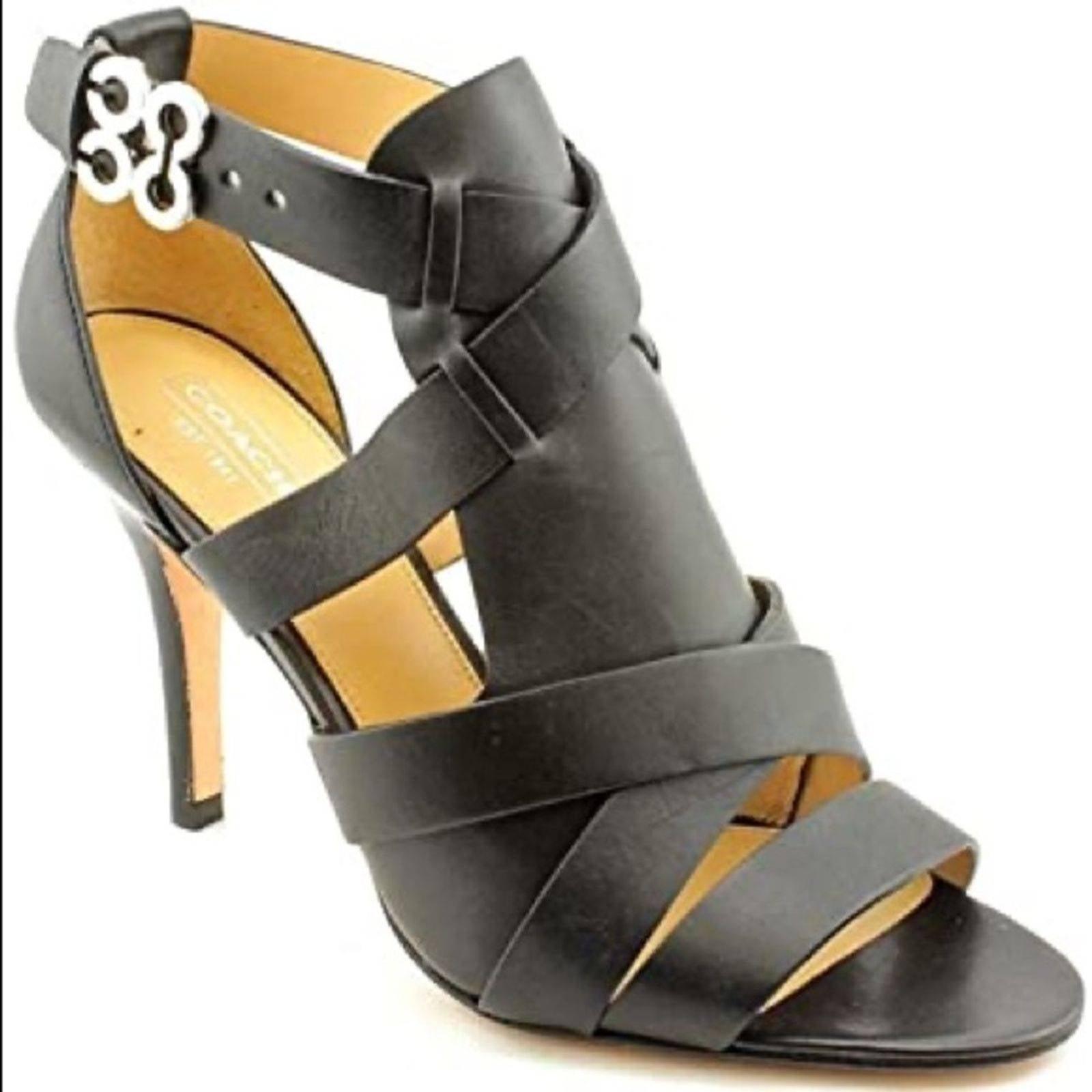 COACH Mila Black Gladiator Heels Sandals