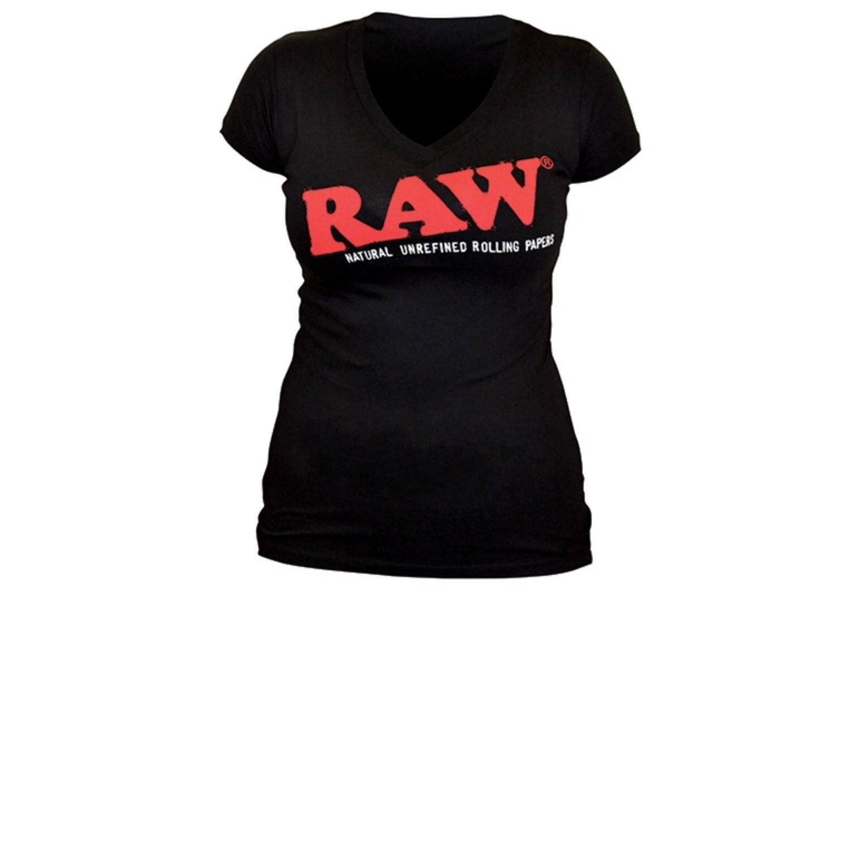 RAW Ladies Black T- Medium V-Neck