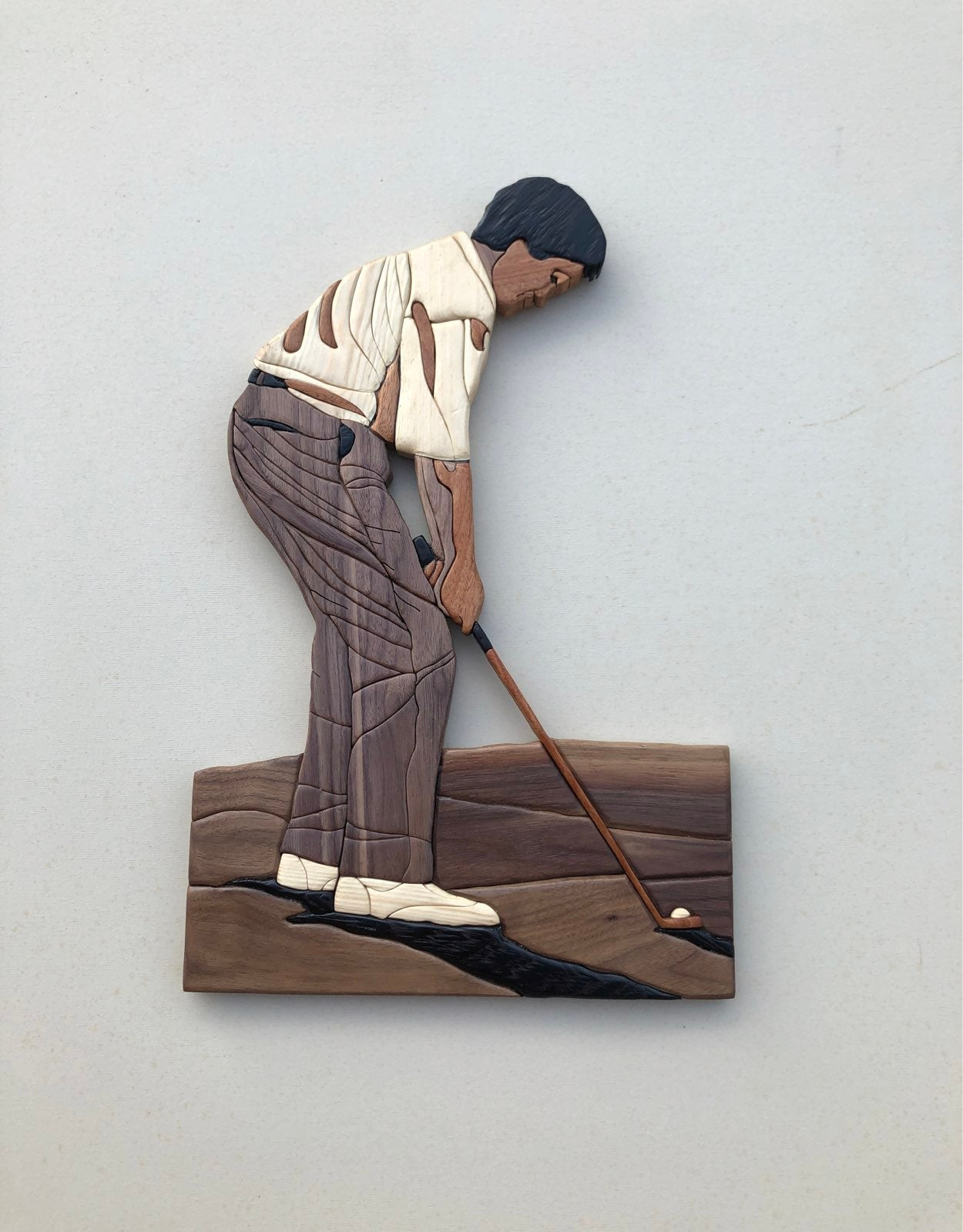 Golfer Intarsia Wood Art Piece