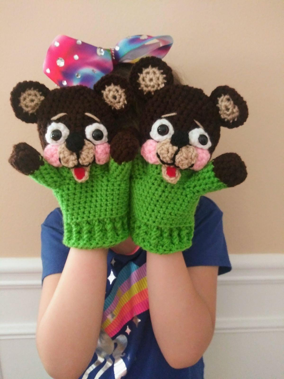 Handmade Crocheted Bear Mittens / Puppet