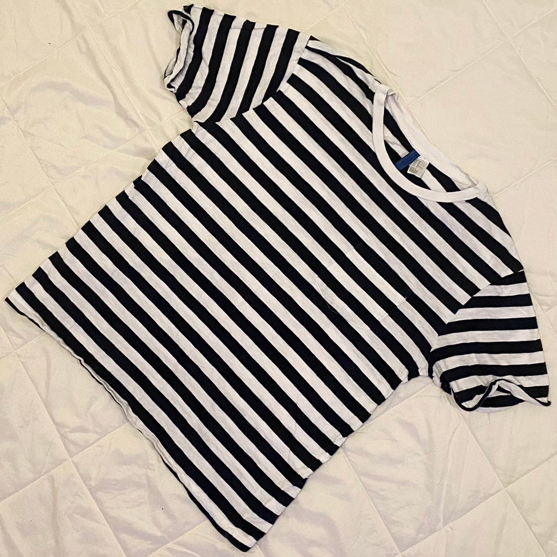 Striped Black & White Casual T-Shirt
