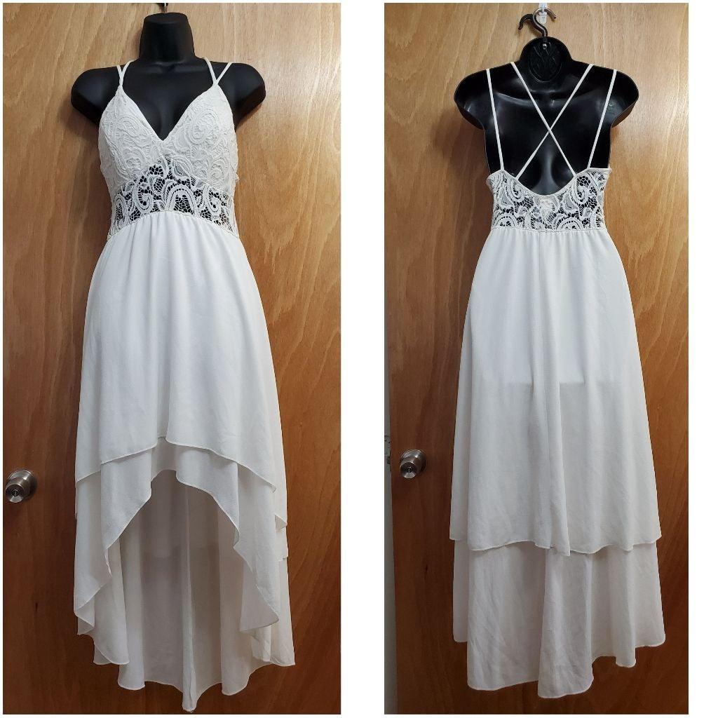 White High Low Maxi Dress MEDIUM